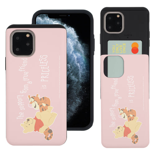 iPhone 11 Pro Max Case (6.5inch) Disney Pooh Slim Slider Card Slot Dual Layer Holder Bumper Cover - Words Pooh Tigger