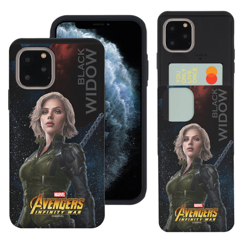 iPhone 11 Case (6.1inch) Marvel Avengers Slim Slider Card Slot Dual Layer Holder Bumper Cover - Infinity War Black Widow
