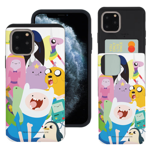 iPhone 11 Pro Max Case (6.5inch) Adventure Time Slim Slider Card Slot Dual Layer Holder Bumper Cover - Cuty Adventure Time