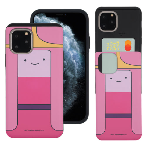 iPhone 11 Pro Max Case (6.5inch) Adventure Time Slim Slider Card Slot Dual Layer Holder Bumper Cover - Princess Bubblegum
