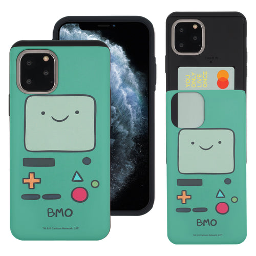 iPhone 11 Pro Max Case (6.5inch) Adventure Time Slim Slider Card Slot Dual Layer Holder Bumper Cover - Beemo (BMO)