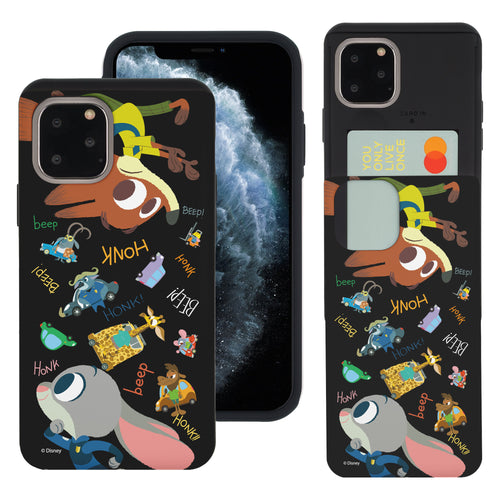 iPhone 11 Pro Max Case (6.5inch) Disney Zootopia Dual Layer Card Slide Slot Wallet Bumper Cover - Zootopia Black
