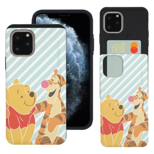 iPhone 11 Pro Max Case (6.5inch) Disney Pooh Slim Slider Card Slot Dual Layer Holder Bumper Cover - Stripe Pooh Tigger