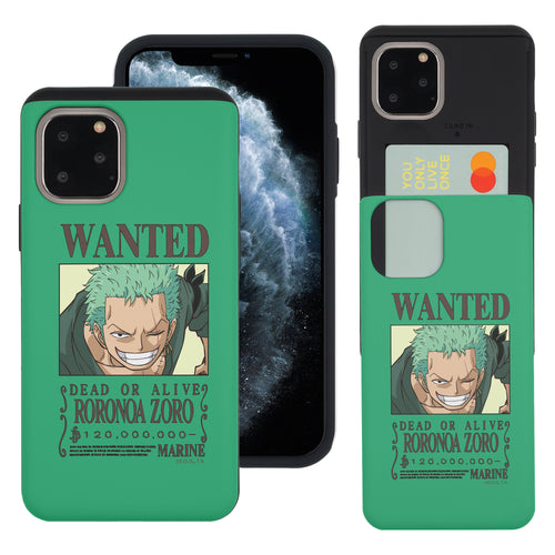 iPhone 11 Case (6.1inch) ONE PIECE Slim Slider Card Slot Dual Layer Holder Bumper Cover - Look Zoro