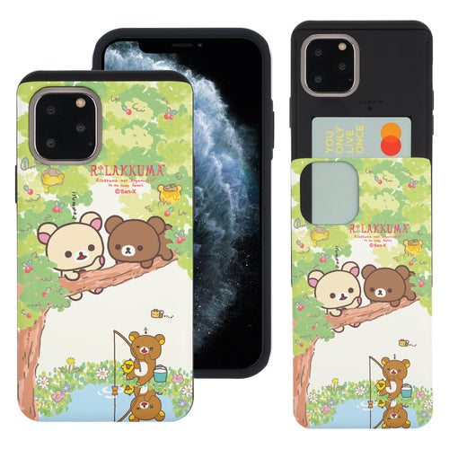 iPhone 11 Pro Max Case (6.5inch) Rilakkuma Slim Slider Card Slot Dual Layer Holder Bumper Cover - Rilakkuma Forest