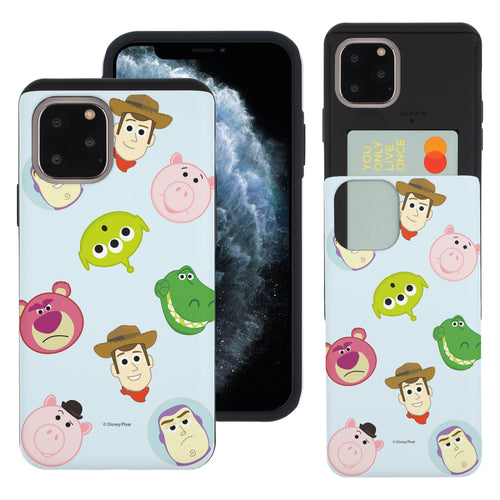 iPhone 11 Pro Max Case (6.5inch) Toy Story Slim Slider Card Slot Dual Layer Holder Bumper Cover - Pattern Face