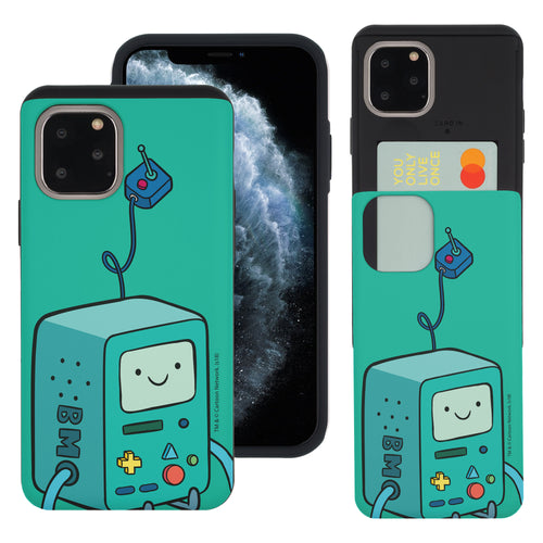 iPhone 11 Pro Max Case (6.5inch) Adventure Time Slim Slider Card Slot Dual Layer Holder Bumper Cover - Vivid BMO