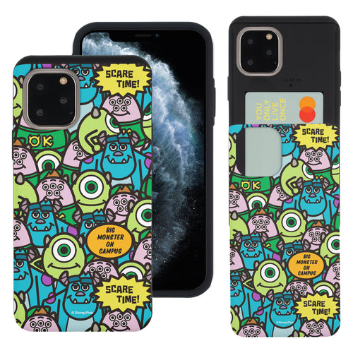 iPhone 11 Pro Max Case (6.5inch) Monsters University inc Slim Slider Card Slot Dual Layer Holder Bumper Cover - Pattern Face