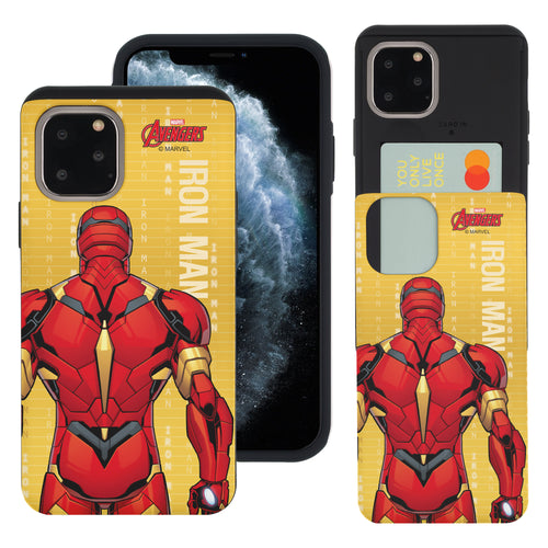 iPhone 11 Case (6.1inch) Marvel Avengers Slim Slider Card Slot Dual Layer Holder Bumper Cover - Back Iron Man