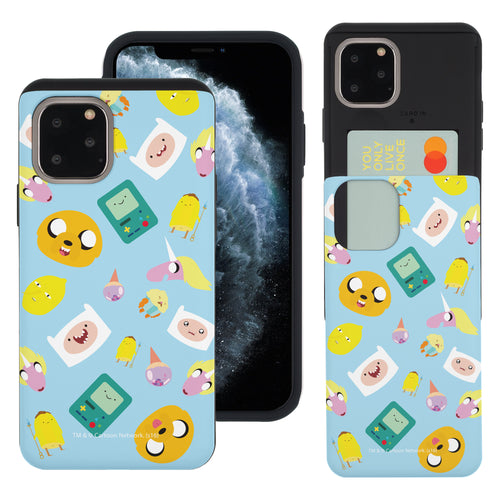 iPhone 11 Pro Max Case (6.5inch) Adventure Time Slim Slider Card Slot Dual Layer Holder Bumper Cover - Cuty Pattern Blue