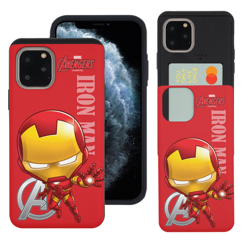 iPhone 11 Case (6.1inch) Marvel Avengers Slim Slider Card Slot Dual Layer Holder Bumper Cover - Mini Iron Man