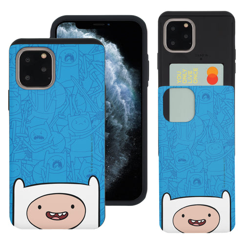 iPhone 11 Pro Max Case (6.5inch) Adventure Time Slim Slider Card Slot Dual Layer Holder Bumper Cover - Pattern Finn Big