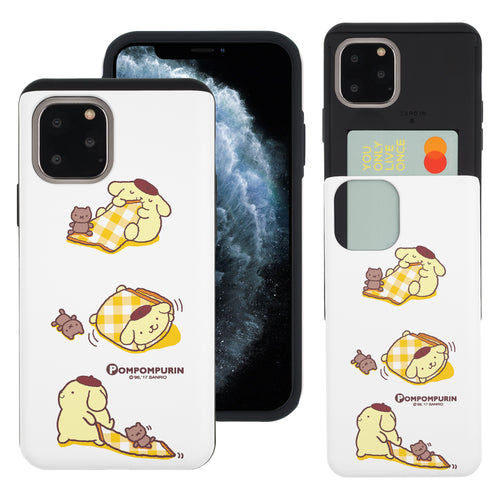 iPhone 11 Case (6.1inch) Sanrio Slim Slider Card Slot Dual Layer Holder Bumper Cover - Pompompurin 3