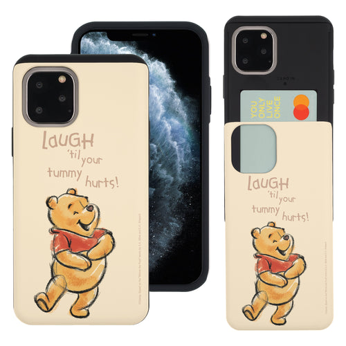 iPhone 11 Pro Max Case (6.5inch) Disney Pooh Slim Slider Card Slot Dual Layer Holder Bumper Cover - Words Pooh Laugh