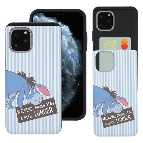 iPhone 11 Pro Max Case (6.5inch) Disney Pooh Slim Slider Card Slot Dual Layer Holder Bumper Cover - Words Eeyore Stripe