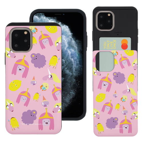 iPhone 11 Pro Max Case (6.5inch) Adventure Time Slim Slider Card Slot Dual Layer Holder Bumper Cover - Cuty Pattern Pink