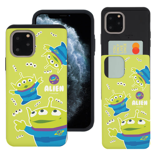 iPhone 11 Pro Max Case (6.5inch) Toy Story Slim Slider Card Slot Dual Layer Holder Bumper Cover - Pattern Alien Eyes