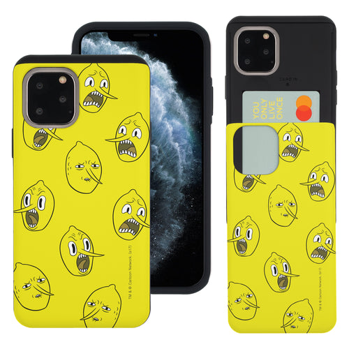 iPhone 11 Pro Max Case (6.5inch) Adventure Time Slim Slider Card Slot Dual Layer Holder Bumper Cover - Pattern Lemongrab