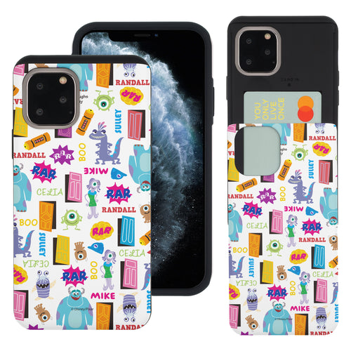 iPhone 11 Case (6.1inch) Monsters University inc Slim Slider Card Slot Dual Layer Holder Bumper Cover - Pattern Name White