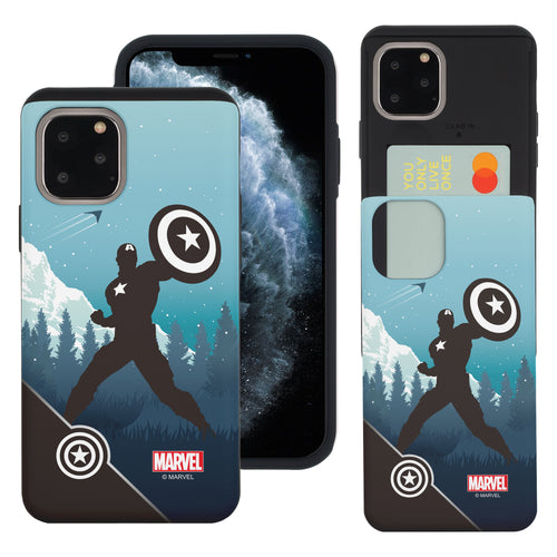 iPhone 11 Case (6.1inch) Marvel Avengers Slim Slider Card Slot Dual Layer Holder Bumper Cover - Shadow Captain America