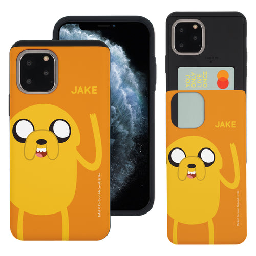 iPhone 11 Pro Max Case (6.5inch) Adventure Time Slim Slider Card Slot Dual Layer Holder Bumper Cover - Cuty Jake