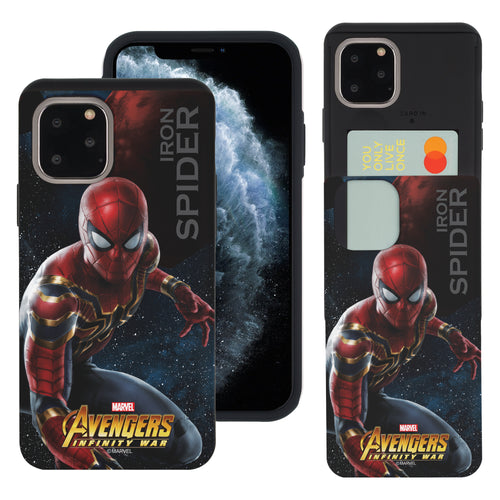 iPhone 11 Case (6.1inch) Marvel Avengers Slim Slider Card Slot Dual Layer Holder Bumper Cover - Infinity War Spider Man