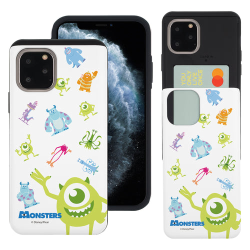 iPhone 11 Pro Max Case (6.5inch) Monsters University inc Slim Slider Card Slot Dual Layer Holder Bumper Cover - Pattern Monsters