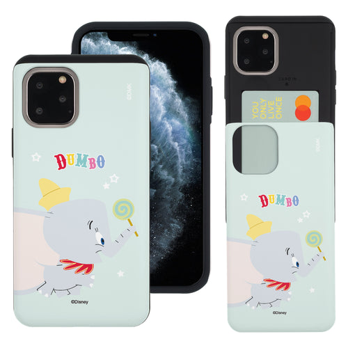 iPhone 11 Pro Max Case (6.5inch) Disney Dumbo Slim Slider Card Slot Dual Layer Holder Bumper Cover - Dumbo Candy