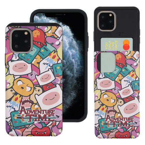 iPhone 11 Pro Max Case (6.5inch) Adventure Time Slim Slider Card Slot Dual Layer Holder Bumper Cover - Adventure Time