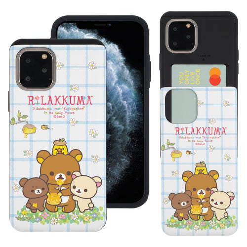 iPhone 11 Pro Max Case (6.5inch) Rilakkuma Slim Slider Card Slot Dual Layer Holder Bumper Cover - Rilakkuma Honey