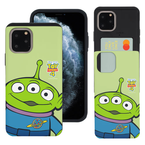 iPhone 11 Case (6.1inch) Toy Story Slim Slider Card Slot Dual Layer Holder Bumper Cover - Wide Alien