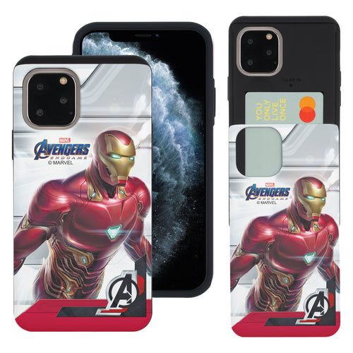 iPhone 11 Case (6.1inch) Marvel Avengers Slim Slider Card Slot Dual Layer Holder Bumper Cover - End Game Iron Man