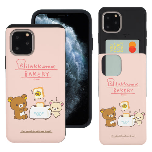 iPhone 11 Pro Max Case (6.5inch) Rilakkuma Slim Slider Card Slot Dual Layer Holder Bumper Cover - Rilakkuma Toast
