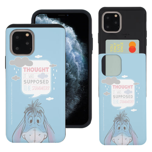 iPhone 11 Pro Max Case (6.5inch) Disney Pooh Slim Slider Card Slot Dual Layer Holder Bumper Cover - Words Eeyore Face