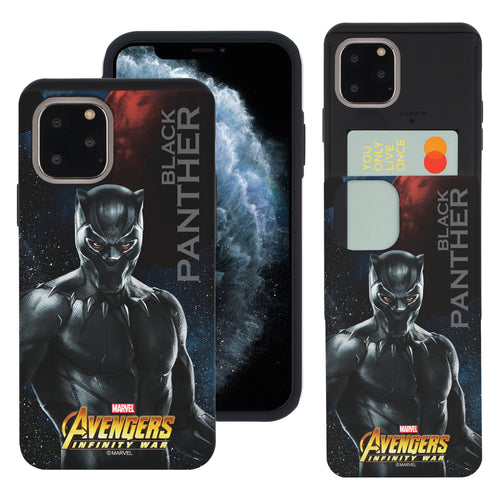 iPhone 11 Case (6.1inch) Marvel Avengers Slim Slider Card Slot Dual Layer Holder Bumper Cover - Infinity War Black Panther