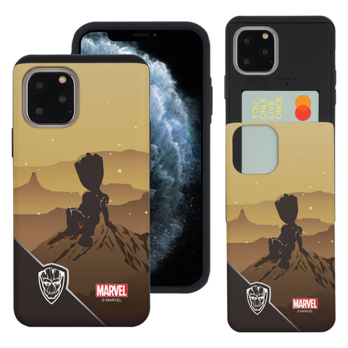 iPhone 11 Case (6.1inch) Marvel Avengers Slim Slider Card Slot Dual Layer Holder Bumper Cover - Shadow Groot