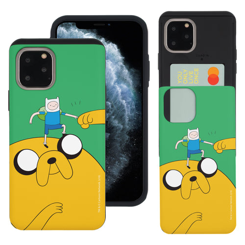 iPhone 11 Pro Max Case (6.5inch) Adventure Time Slim Slider Card Slot Dual Layer Holder Bumper Cover - Cuty Jake Big