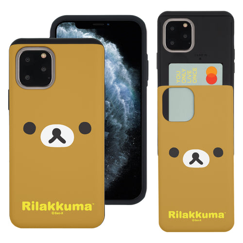 iPhone 11 Pro Max Case (6.5inch) Rilakkuma Slim Slider Card Slot Dual Layer Holder Bumper Cover - Face Rilakkuma