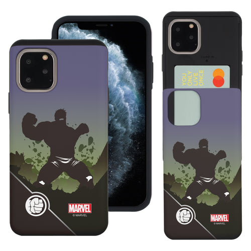 iPhone 11 Case (6.1inch) Marvel Avengers Slim Slider Card Slot Dual Layer Holder Bumper Cover - Shadow Hulk