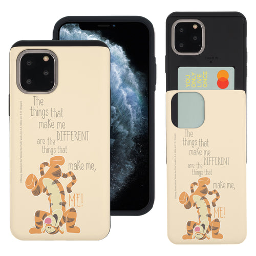 iPhone 11 Pro Max Case (6.5inch) Disney Pooh Slim Slider Card Slot Dual Layer Holder Bumper Cover - Words Tigger