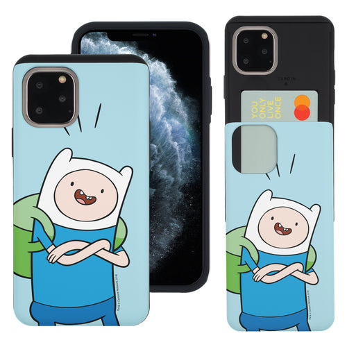 iPhone 11 Pro Max Case (6.5inch) Adventure Time Slim Slider Card Slot Dual Layer Holder Bumper Cover - Vivid Finn