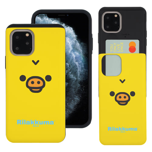 iPhone 11 Pro Max Case (6.5inch) Rilakkuma Slim Slider Card Slot Dual Layer Holder Bumper Cover - Face Kiiroitori