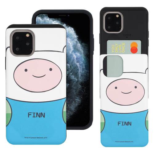 iPhone 11 Pro Max Case (6.5inch) Adventure Time Slim Slider Card Slot Dual Layer Holder Bumper Cover - Finn Mertens