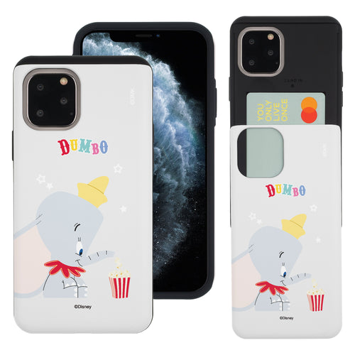 iPhone 11 Pro Max Case (6.5inch) Disney Dumbo Slim Slider Card Slot Dual Layer Holder Bumper Cover - Dumbo Popcorn