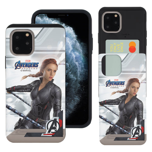 iPhone 11 Case (6.1inch) Marvel Avengers Slim Slider Card Slot Dual Layer Holder Bumper Cover - End Game Black Widow