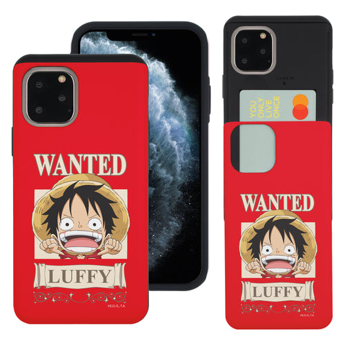 iPhone 11 Case (6.1inch) ONE PIECE Slim Slider Card Slot Dual Layer Holder Bumper Cover - Mini Luffy