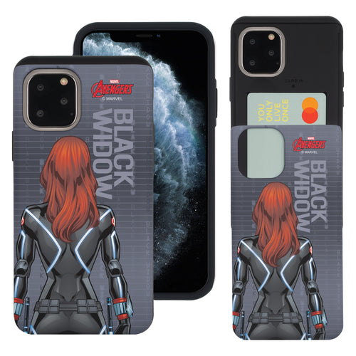 iPhone 11 Case (6.1inch) Marvel Avengers Slim Slider Card Slot Dual Layer Holder Bumper Cover - Back Black Widow