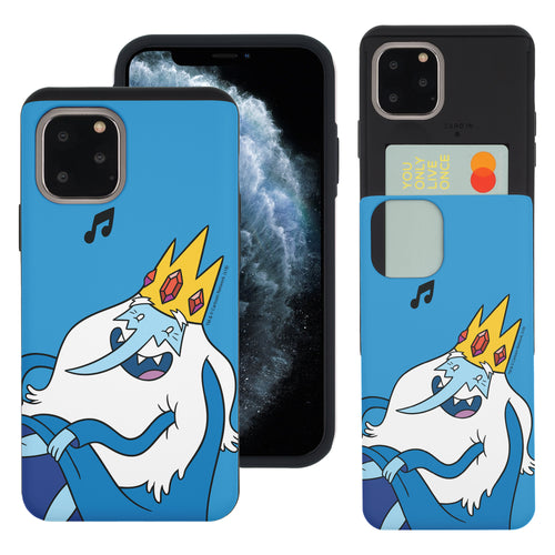 iPhone 11 Pro Max Case (6.5inch) Adventure Time Slim Slider Card Slot Dual Layer Holder Bumper Cover - Vivid Ice King