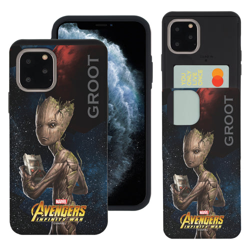 iPhone 11 Case (6.1inch) Marvel Avengers Slim Slider Card Slot Dual Layer Holder Bumper Cover - Infinity War Groot