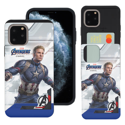 iPhone 11 Case (6.1inch) Marvel Avengers Slim Slider Card Slot Dual Layer Holder Bumper Cover - End Game Captain America
